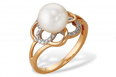 Кольцо из серебра 925 пробы с белой речной жемчужиной 8-8,5 мм. Артикул 11071
