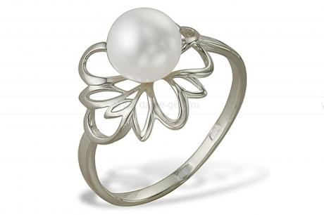 Кольцо из серебра 925 пробы с белой речной жемчужиной 7 мм. Артикул 11072