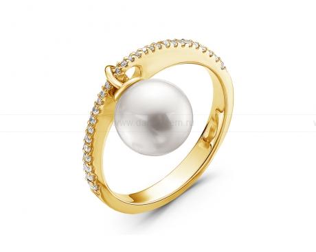 Кольцо из золота с белой морской жемчужиной Акойя 8-8,5 мм. Артикул 11075