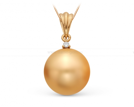 Кулон из желтого золота с золотистой Австралийской жемчужиной 13-13,5 мм. Артикул 11077