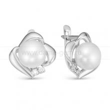 Серьги из серебра с белыми жемчужинами 8,5-9 мм. Артикул 11083
