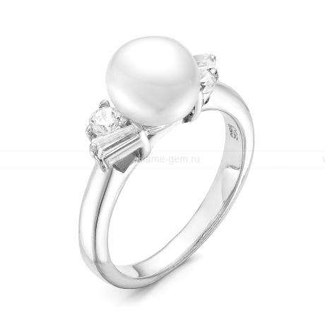 Кольцо с белой речной жемчужиной. Артикул 11084