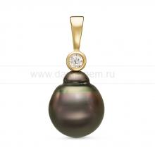 Кулон из серебра с черной Таитянской жемчужиной 11-11,5 мм. Артикул 11088