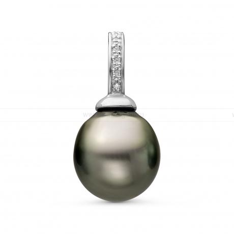 Кулон из серебра с черной Таитянской жемчужиной 12-12,5 мм. Артикул 11089
