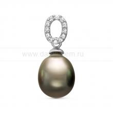 Кулон из серебра с черной Таитянской жемчужиной 11-11,5 мм. Артикул 11090