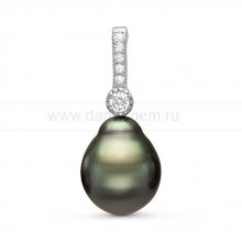 Кулон из серебра с черной Таитянской жемчужиной 10-10,5 мм. Артикул 11091