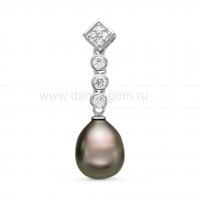 Кулон из серебра с черной Таитянской жемчужиной 9,6-9,9 мм. Артикул 11092