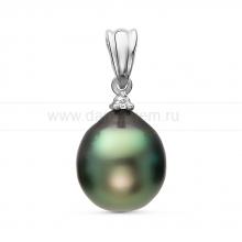 Кулон из серебра с черной Таитянской жемчужиной 10-10,5 мм. Артикул 11093