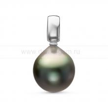 Кулон из серебра с черной Таитянской жемчужиной 11,6-11,9 мм. Артикул 11095
