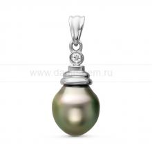 Кулон из серебра с черной Таитянской жемчужиной 10-10,5 мм. Артикул 11096