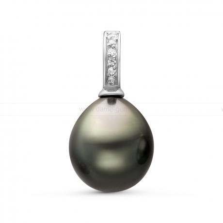 Кулон из серебра с черной Таитянской жемчужиной 10,6-10,9 мм. Артикул 11097