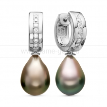 Серьги из серебра с Таитянскими жемчужинами 9,6-9,9 мм. Артикул 11105