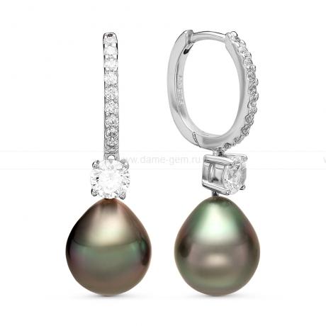 Серьги из серебра с Таитянскими жемчужинами 10-10,5 мм. Артикул 11106