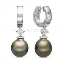 Серьги из серебра с Таитянскими жемчужинами 10-10,5 мм. Артикул 11107