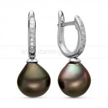 Серьги из серебра с Таитянскими жемчужинами 11-11,5 мм. Артикул 11108