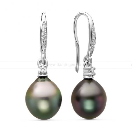 Серьги из серебра с Таитянскими жемчужинами 10,6-10,9 мм. Артикул 11111