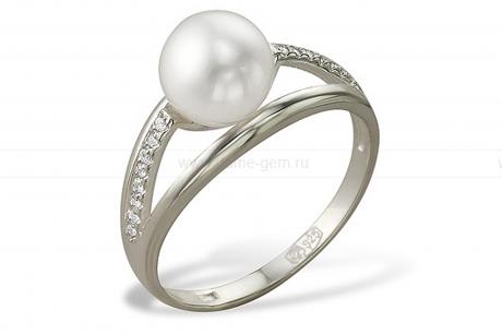 Кольцо с белой речной жемчужиной. Артикул 11116
