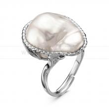 Кольцо с белой барочной жемчужиной. Артикул 11117