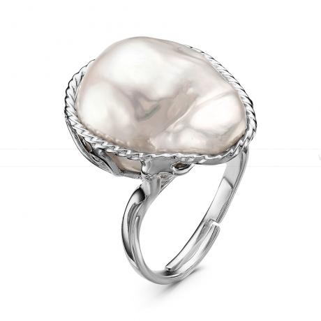 Кольцо из серебра с белой барочной жемчужиной. Артикул 11117
