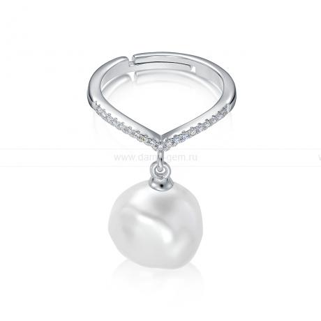 Кольцо из серебра с белой барочной жемчужиной 13 мм. Артикул 11118