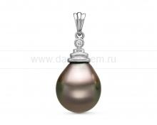 Кулон из белого золота с черной Таитянской жемчужиной 14-14,5 мм. Артикул 11129