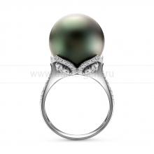 Кольцо с черной Таитянской жемчужиной. Артикул 11137