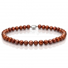 Ожерелье из шоколадного круглого речного жемчуга 11,5-13 мм. Артикул 11157