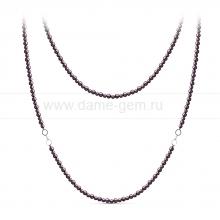 Бусы из черного жемчуга со вставками из серебра. Артикул 11159