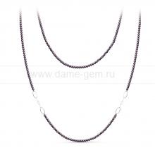 Бусы из черного круглого речного жемчуга 7,5-8 мм со вставками из серебра. Артикул 11160