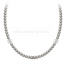 Колье из серого жемчуга со вставками из серебра. Артикул 11163