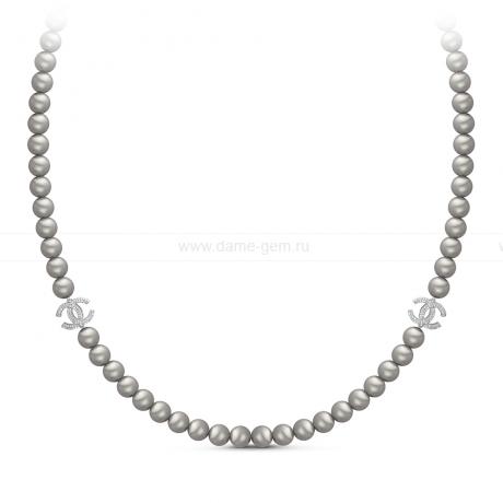 Колье из серого круглого речного жемчуга 8-8,5 мм со вставками из серебра. Артикул 11163