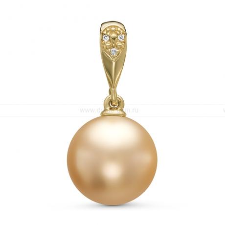 Кулон из желтого золота с золотистой Австралийской жемчужиной 12-12,5 мм. Артикул 11171