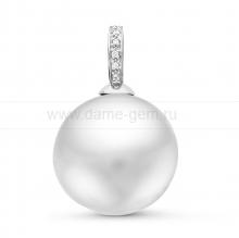 Кулон из белого золота с белой Австралийской жемчужиной 14-14,5 мм. Артикул 11177