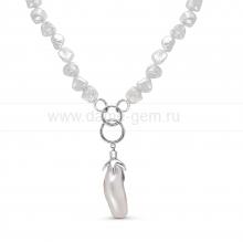 Колье из серебра, украшенное барочным речным жемчугом 8-11,5 мм. Артикул 11181