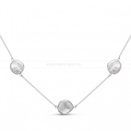 Колье из серебра с белым барочным речным жемчугом 14 мм. Артикул 11183