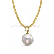 """Колье """"сеточка"""" из серебра с белой барочной жемчужиной 16 мм. Артикул 11185"""