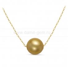 Цепочка из золота с золотистой Австралийской жемчужиной 11-11,5 мм. Артикул 11188