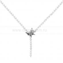 "Ожерелье ""галстук"" из белого речного круглого жемчуга 6,5-7 мм. Артикул 11189"