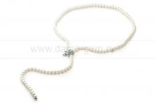 "Ожерелье ""Галстук"" из белого круглого речного жемчуга 8-8,5 мм. Артикул 11191"