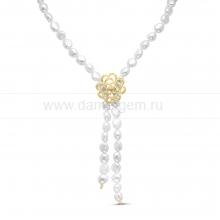 "Ожерелье ""Галстук"" из белого барочного речного жемчуга 8-8,5 мм. Артикул 11192"