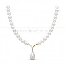 "Ожерелье с кулоном ""Барокко"" из белого речного жемчуга 8-8,5 мм. Артикул 11194"