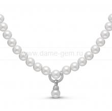 Ожерелье c кулоном из белого круглого речного жемчуга 9-10 мм. Артикул 11195
