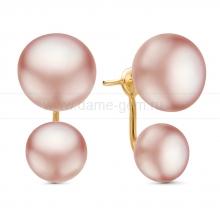"""Двойные пусеты """"Dior"""" с розовым речным жемчугом. Артикул 11224"""