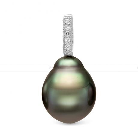 Кулон из серебра с черной Таитянской жемчужиной 10-10,5 мм. Артикул 11227