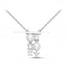 Колье из серебра, украшенное белым жемчугом. Артикул 11228