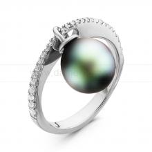 Кольцо с черной Таитянской жемчужиной. Артикул 11234