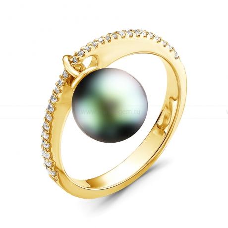 Кольцо из золота с черной Таитянской жемчужиной 10-10,5 мм. Артикул 11255