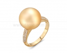 Кольцо из золота с золотистой Австралийской жемчужиной 13-13,5 мм. Артикул 11256
