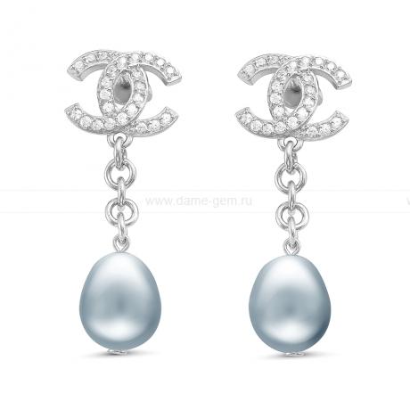 Серьги из серебра с серыми жемчужинами в форме капля 10-11 мм. Артикул 11258
