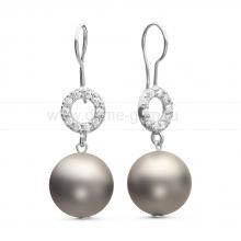 "Серьги из серебра с серыми жемчужинами ""Майорика"" 12 мм. Артикул 11263"